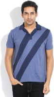 Nautica Striped Mens Polo Neck Blue T-Shirt