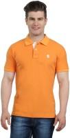 The Cotton Company Solid Mens Polo Neck Orange T-Shirt