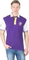 Wilkins & Tuscany Solid Mens Polo Neck Purple T-Shirt