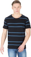 Hypernation Striped Men's Round Neck Black, Blue T-Shirt