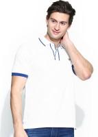 John Players Solid Men's Polo Neck White T-Shirt