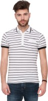 Mufti Striped Men's Polo Neck White T-Shirt