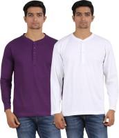 Arowana Solid Men's Henley Purple, White T-Shirt(Pack of 2)
