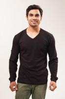 Unisopent Designs Solid Mens V-neck Black T-Shirt