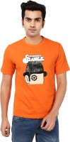 Ruse Printed Mens Round Neck Orange, Black T-Shirt