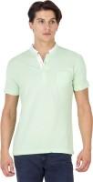 Mufti Solid Men Henley Green T-Shirt