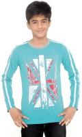 Menthol Boys Printed Cotton T Shirt(Blue, Pack of 1)