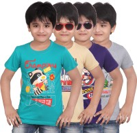 Dongli Boys Graphic Print T Shirt(Multicolor Pack of 4)