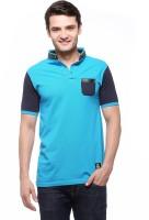Fasnoya Solid Mens Mandarin Collar Blue T-Shirt