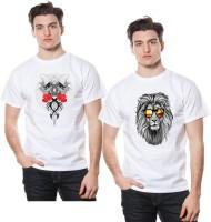 Fashion 360 Floral Print, Animal Print, Graphic Print Men's Round Neck White, Red, Black T-Shirt(Pack of 2)