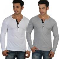 Rigo Solid Mens Henley White, Grey T-Shirt(Pack of 2)