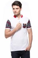 Fasnoya Solid Men's Polo Neck White T-Shirt