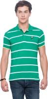 Mufti Striped Men Polo Neck Green T-Shirt