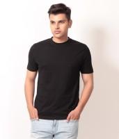 Arrow Tower Solid Men's Round Neck Black T-Shirt