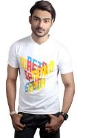 Spur Printed Mens V-neck White T-Shirt