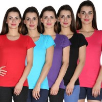 Faireno Printed Womens Round Neck Multicolor T-Shirt(Pack of 5)