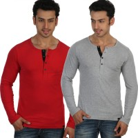 Rigo Solid Men's Henley Red, Grey T-Shirt(Pack of 2)