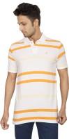 Red Line Striped Men Polo Neck White, Orange T-Shirt