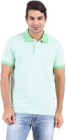 Furore Striped Mens Polo Neck Green T-Shirt