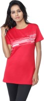 Aquamagica Striped Women's Round Neck Red T-Shirt