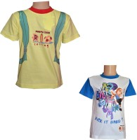 Chhota Bheem Boys Printed Cotton T Shirt(Yellow, Pack of 2)