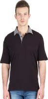 Hypernation Solid Men's Polo Neck Black T-Shirt