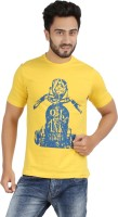 Checkers Bay Printed Men's Round Neck Yellow T-Shirt