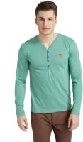 Breakbounce Solid Men's Henley Green T-Shirt