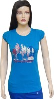 Ultra Fit Printed Women's Round Neck Blue T-Shirt