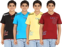 Zippy Boys Printed, Solid Cotton T Shirt(Multicolor)
