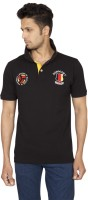 Red Line Solid Men Polo Neck Black T-Shirt
