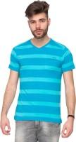 Mufti Striped Men V-neck Light Blue T-Shirt