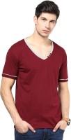 Izinc Color block Men V-Neck Maroon T-Shirt