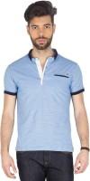 Mufti Striped Men Henley Blue T-Shirt