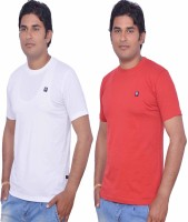 Leaf Solid Men's Round Neck White, Red T-Shirt(Pack of 2)