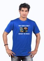 Heritage Design Printed Mens Round Neck Blue T-Shirt