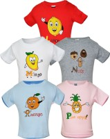 Gkidz Boys Printed Cotton T Shirt(Multicolor Pack of 5)