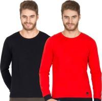 Rigo Solid Mens Round Neck Black, Red T-Shirt(Pack of 2)