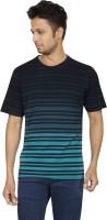 Red Line Striped Men Round Neck Blue T-Shirt