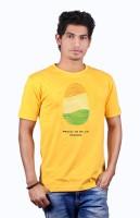 Heritage Design Printed Men's Round Neck Yellow T-Shirt