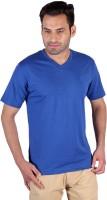 Humbert Solid Mens V-neck Blue T-Shirt