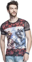 Tinted Graphic Print Mens Round Neck Red T-Shirt