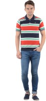 Norwood Striped Mens Polo Neck White, Green, Red, Dark Blue T-Shirt