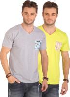 Smugglerz Inc. Solid Men's V-neck Grey, Light Green T-Shirt(Pack of 2)