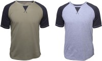 Poshuis Solid Men's Round Neck Grey, Green T-Shirt(Pack of 2)
