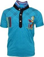 Crux & Hunter Boys Printed T Shirt(Blue, Pack of 1)