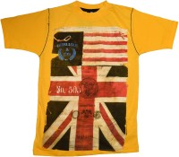 Crux & Hunter Boys Printed T Shirt(Yellow, Pack of 1)