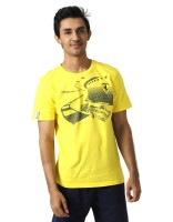 Puma Graphic Print Mens Round Neck Yellow T-Shirt