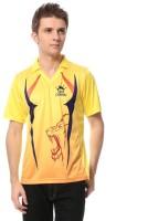 T10 Sports Printed Mens Mandarin Collar Yellow T-Shirt