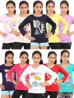 Meril Girls Graphic Print T Shirt(Multicolor)